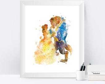 Beauty and the Beast Art Print Belle Disney Art Disney Princess  Watercolor Beauty Beast Poster Nursery Home Decor Wall Art Christmas Gift