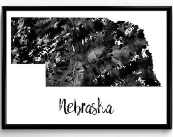 Map of Nebraska, United States of America, Black and White Map, Travel, Watercolor, Room Decor, Poster, gift, Print, Wall Art (760)