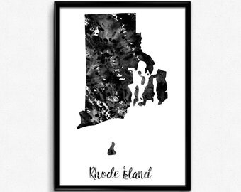 Map of Rhode Island,  United States of America, Black and White Map, Travel, Watercolor, Room Decor, Poster, gift, Print, Wall Art (772)