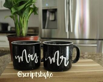 Mrs. & Mr. ceramic coffee mug set, black ceramic with soft splash 17 oz, coffee cup, bride to be, bride gift, couple coffee cups, couple mug