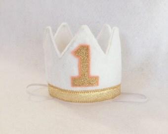 Wild One Girls Crown, Mini Felt Crown, Cake Smash Crown, Birthday Crown, Gold White Birthday Hat, White Gold Peach Felt First Birthday Crown