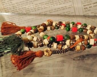 Mala Tibetan - Bones and beads of glass, metered