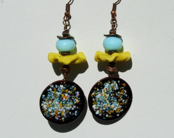 Enameled copper and lampwork bead earrings in light blue and yellow