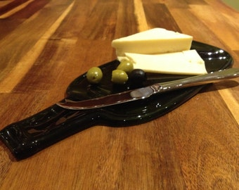 Cheese board recycled glass bottle  slumped bottle