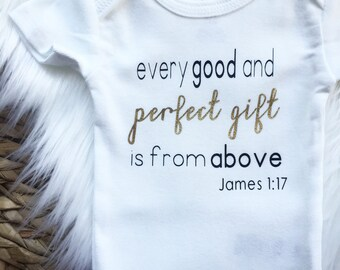 James Bible Verse Baby Onesie® / Baby Bodysuit / Toddler TShirt  / Going Home Outfit / Baby Shower Gift / Photography Prop