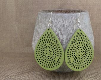 Earrings / Wood Earrings / Olive Green Earrings / Yellow Earrings / Pink Earrings / Purple Earrings