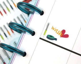 Washi Tape and Pens Planner Stickers (Brights)