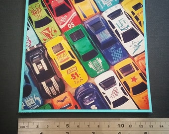 On Sale** TOY CARS BIRTHDAY Handmade Card, Edited Photography, something different.
