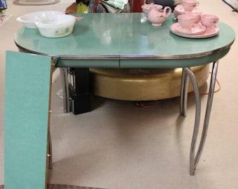 1950s Green Dinette Daystrom Table, Chrome Legs, 1 Leaf