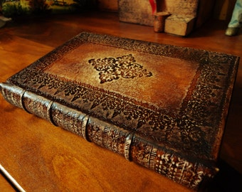 Venice style binding - 14th,15th Venice decorated binding leather journal -  leather journal with initials