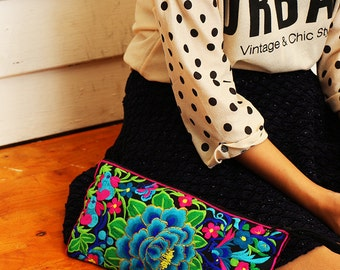Long Wristlet Purse With Embroidered Fabric