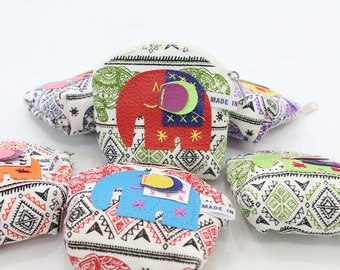 Small Coin Pouches With Elephant Printed Fabric