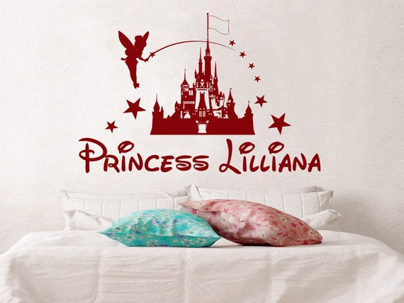 Wall Decal Disney Castle Personalized Princess Girl Name Vinyl - Custom vinyl wall decals disney