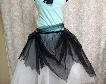 Blue Fairy Dress, Adult fairy dress, Tattered Pixie Fairy Costume, Fairy Ballerina Dress, Black blue tattered dress