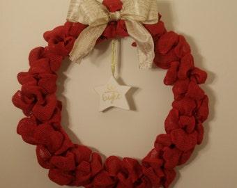 Burlap and Star Wreath