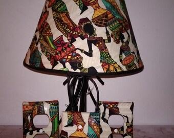 African Print  Lamp set