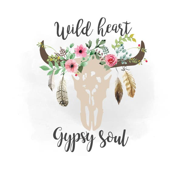wild heart gypsy soul svg clipart boho floral cow skull clipart texas country cutting file. Black Bedroom Furniture Sets. Home Design Ideas