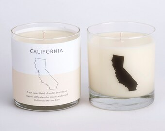 California Soy Candle Scented Soy Candle Home Candle Hostess Gift California Candle State Candle The Original Scripted Fragrance Candle
