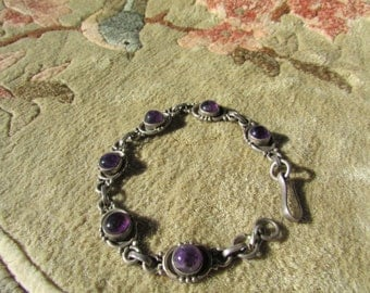 Laurie Vintage Amethyst Cab Sterling Link Bracelet Early Mexican Pre Eagle?