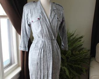 Vintage Peri Petites Navy Blue and White Collared Dress w/Front Pockets