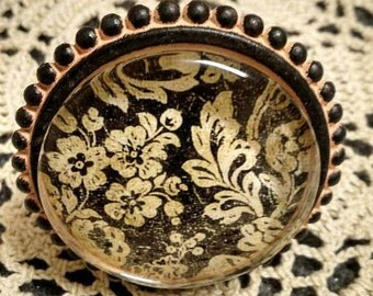 Brown Bronze Ivory Filigree Design Drawer Pull