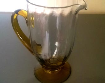 Vintage Large Hand-Blown Ribbed Pitcher, Amber Tinted Handle / Base, circa 1950's.