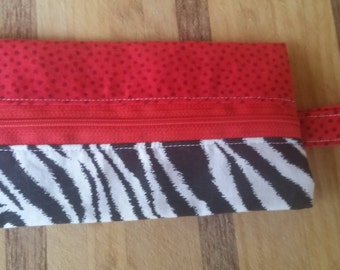 Notions Pouch 'Zebra Stripes and Red with Dots'