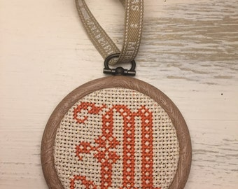 M Initial Letter Cross Stitched Christmas Tree Bauble Decoration Monogram