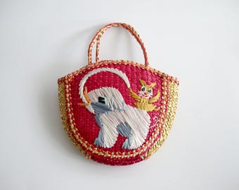 Children's Straw Bag Vintage Straw Purse Girls Purse