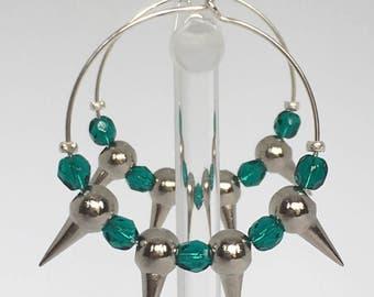 Hoop earrings, Silver plated hoop earrings and green beads, Silver earrings, Silver hoops, Green hoops, Green earrings, Silver, Gift for her