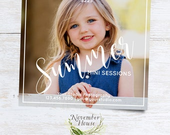 Summer Mini Sessions, Photography Marketing, Mini Sessions Template, Photoshop Template, Marketing Board, Instant Download
