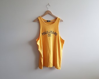 Vintage polo Ralph Lauren tank top, vintage polo muscle shirt, yellow tank tops, 90s yellow polo muscle shirt