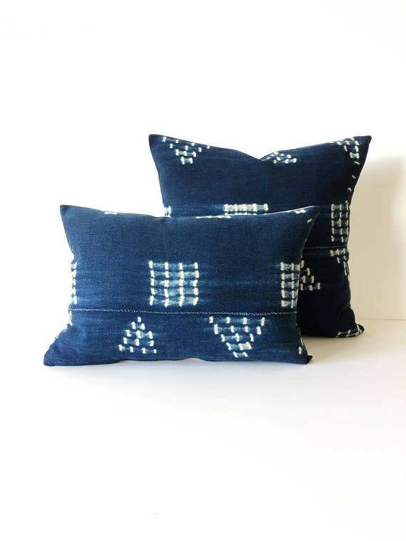 18 X 12  Indigo Geometry Pattern Pillow Cover