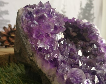 Beautiful Dark Amethyst Flower Ball Geode Cut Base Self Display - Uruguay