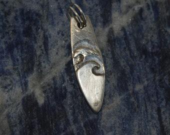 Sterling Silver Surfboard Double Wave Pendant