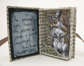 Miniature Diorama Squirrel Original Watercolour Pen Ink Wash Drawing Illustrations, Miniature Art Book Match Box Art Papier Mache Assemblage