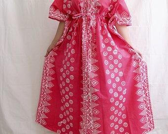Pink Caftan, Plus size Maxi Dress, Indian dress, cotton summer dress, sundress, pink gown, Plus size gown, plus size yoga wear (Pink 2SB)