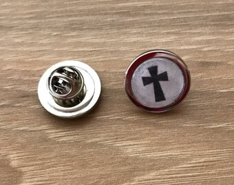 Christian Tie Tack Pin - Religious Tie Tack Clutch Back - Faith Lapel Pin - Cross Scarf Pin - Christian Flair Pin - Christian Pin Badges