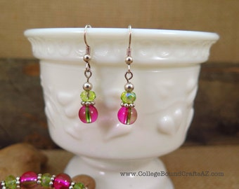 Pink & Green Glass Bead Earrings in Silver -- FREE SHIPPING!!!