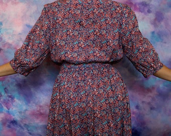 1970s Liberty blue and red floral dress   70s Liberty floral shirtdress