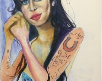 Oil on canvas.- AMY WINEHOUSE.- Modern art.