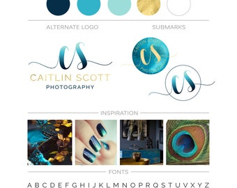 Ombre Branding Kit, Teal Gold Watercolor Modern Custom Logo Design Branding Package, Photography Logo Watermark, Fashion Boutique Logo Stamp