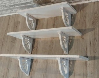 3 Shelves with distressed corbels