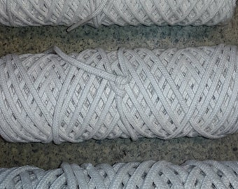 Braided Cotton Rope Cord String Twine 16 Strand 3mm Natural 100% cotton 50m Roll with a core
