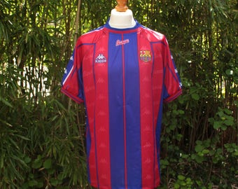 KAPPA X FC BARCELONA Retro Home Football Shirt 1997/98 - Size Extra Large