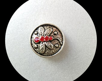 Snap Charm Button, Red snap jewelry. Size 20mm, fits Ginger snaps, Noosa, Magnolia & Vine and others