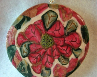 Christmas Poinsettia Ornament;Poinsettia Pendant;Custom Poinsettia Ornament; Lovely Poinsettia Ornament;;Secret Santa;Office Gift