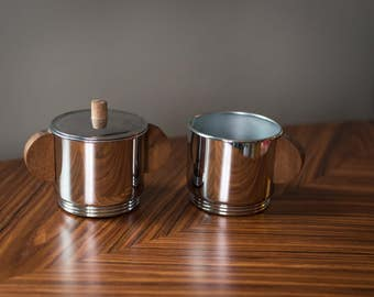 Mid-Century Stainless Steel and Wood Sugar Bowl and Creamer Set