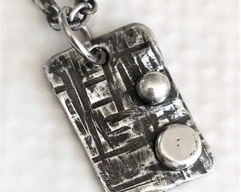 oxidized sterling silver rectangle pendant necklace