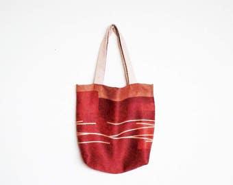 red tote bag / shopping bag  / market bag / one sholder bag / simple bag / apstract tote